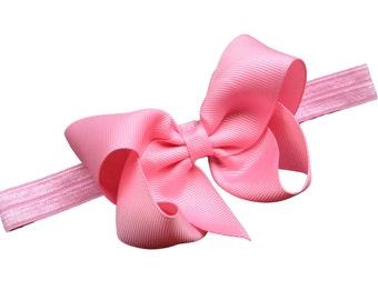 Pink baby headband - baby headband, baby headbands, baby headband bows, baby girl headband, newborn headband, baby bows, baby hair bows, bow