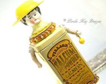 When Life Gives You Lemons Art Doll  Yellow Lemon Talc Tin Assemblage Art Doll Lorelie Kay Original