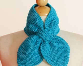 Knitted Neck Warmer Bow Scarflette Aqua Turquoise Blue