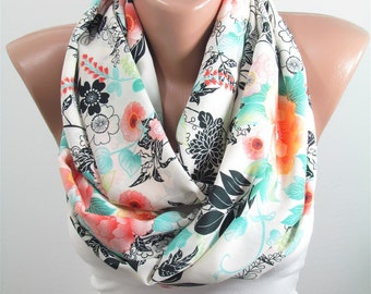 Floral Scarf Infinity Scarf Mothers Day Gift For Mom Spring Fashion Accessories Gift For Her Gift For Women Gift For Wife Birthday Gift