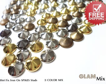 150 MIX Spikes Cone Studs for Iron On Hot Fix Glue On 3 Colors 10 mm