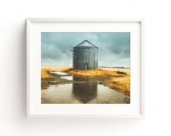 """landscape photography, industrial wall art, industrial decor, grain bin, large art, large wall art, landscape art prints - """"In the Rain"""""""