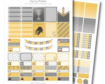 Erin Condren Harry Potter Hufflepuff Printable Planner Sticker Set, Erin Condren Life Planner, Instant Download