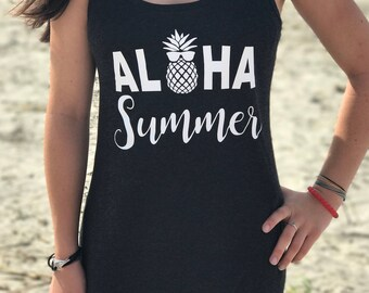 Racerback Tank Cover Up, Beach and Pool Cover Up, Aloha Summer Bathing Suit Cover Up