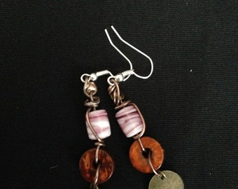 Bead and Wood Dangle Earring