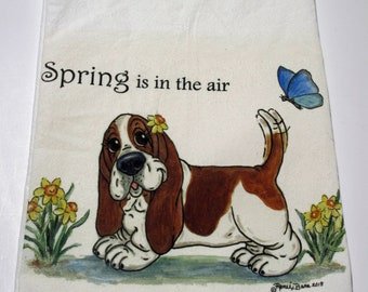 "Basset Hound Flour Sack/Tea Towel - 27"" x 27"" - ""Spring is in the air"""
