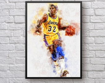 Magic Johnson Poster, Los Angeles Lakers Art, Gift for Lakers Fan, NBA Poster, Earvin Magic Johnson Wall Art Basketball Gift Kids Room Decor