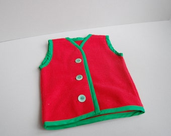 Red & Green Fleece Vest with button closure