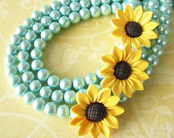 Sunflower Necklace Sunflower Jewelry Aqua Necklace Statement Necklace Multi Strand Bib Necklace Gift Fo Her