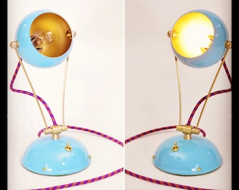 Sky Blue Fiesta Table Desk Bedside Children's Lamp Handmade Color Cord