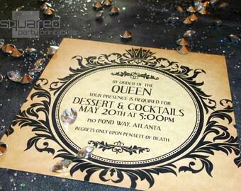Böse Königin Gothic Fairytale Cocktail-Party-Einladung - DIY druckbare - es war einmal - Schneewittchen inspiriert