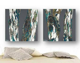 oversized masculine wall art Extra LARGE diptych living dining room print set Tree trunks Teal Gray bedroom rustic modern fathers day gift