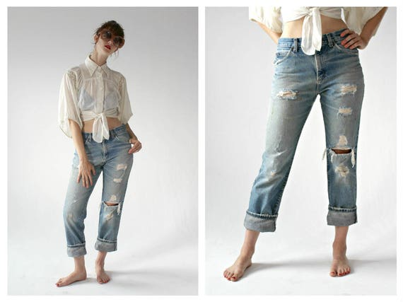 Vintage LEE Boyfriend Jeans- 32 x 39, Distressed, Slouchy Denim