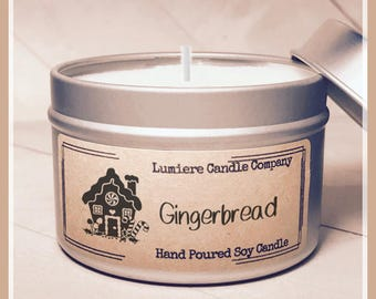 GINGERBREAD Scented Soy Candle Tin, Scented Soy Candles, Hand Poured Soy Candles, Soy Candles Handmade, Candle Tin