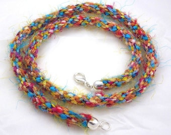 Sunrise Mixed Fiber Kumihimo 27 inch Necklace