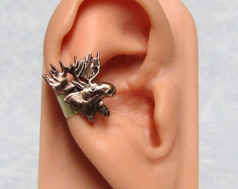 Forest Moose Head Ear cuff