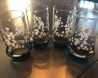 Vintage Libbey Tawny/Gray Tumblers with Floral Design 4/Set