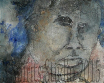 """Original hand made contemporary raw art brut Expressionist outsider Raw Mixed Media  Painting on paper-""""Lucid"""""""