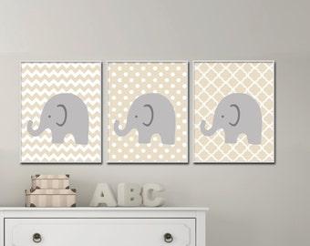 Elephant Nursery Art.  Gender Neutral Nursery Art. Baby Girl or Boy Nursery Art. Suits Beige Nursery Decor -  H963