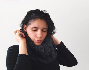 custom hand knit cowl neckwarmer-- the veral loop scarf in charcoal, or your color of choice