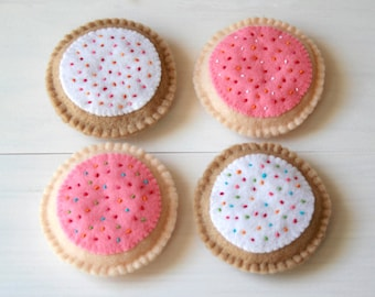 Felt Food Strawberry and Vanilla Iced Biscuits Sugar Cookies Sweet Treats Play Food with Sprinkles - 4 Soft Felt Biscuits