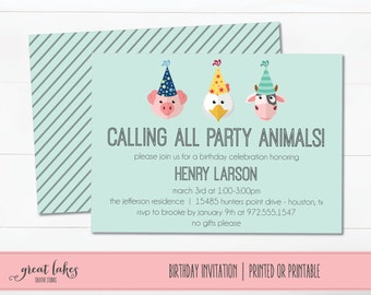 Farm Invitation, Farm Birthday, Farm Animals Birthday Invite, Barnyard Birthday, Farm Party, Party Animals Birthday