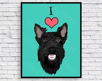 PRINTABLE POSTER | Scottish Terrier | Instant Download | Donation to Shelter | Dog Art | Scottie Dog | Hamilton Barkley | Hami In Miami