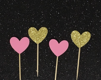 Pink and Gold hearts cupcake toppers, wedding cupcake toppers,  bridal shower cupcake topper, valentines party cupcake toppers