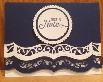 Note card, die cut note card, blank note card, just a note card