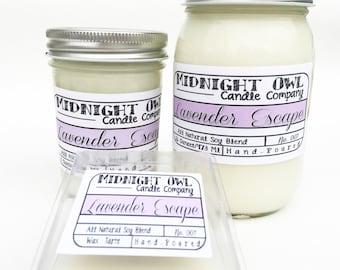 Lavender Escape 8oz or 16oz Mason Jar Candle - scented soy candles, mason jar, Midnight Owl Candle Co.