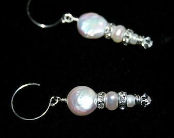 SHIMMER MOON Fw Pearl, Sterling Silver, and Swarovski Crystal Earrings