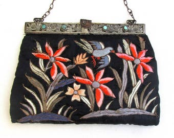 Vintage CHINESE Silk Embroidered Purse with Turquoise set in Frame ANTIQUE Chinese Embroidered Bag
