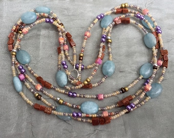 "Light blue brown necklace, 70"" super long multi wrap, Multicolor flapper jewelry, Boho chic wedding, Hippie folk gypsy, OOAK artisan unique"
