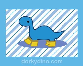 Blue Dinosaur Children's Wall Art, Brontosaurus Digital Art Print, Dino Wearing Rain Boots /Galoshes, Striped Teal Yellow Nursery Decoration