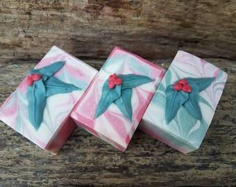 Holly Soap - Christmas Soap - Winter Soap - Cold Process Soap - Handmade Soap - Artisan Soap