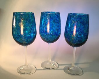 Hand Painted mixed media ocean blue turquoise wine glasses