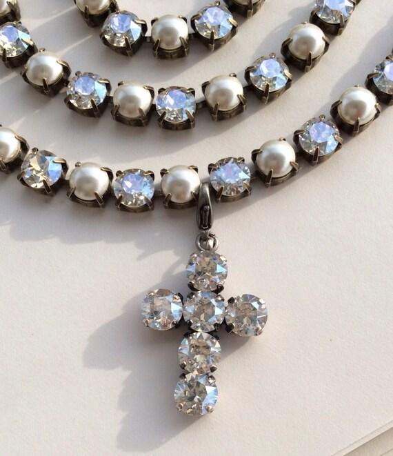 Swarovski Crystal -  Designer Inspired - Luminous Moonlight -  Add-On  Pendant Cross  -   FREE SHIPPING