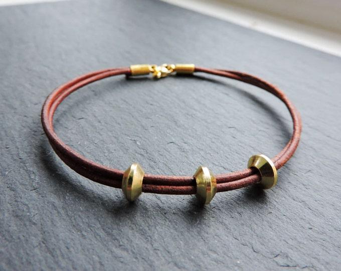 Leather & Gold Wrap Bracelet - Handmade vintage/antique-look brown leather cord strand bead bracelet, boho, friendship, stacking bracelets