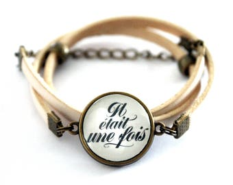 """Cabochon White Leather Bracelet adjustable three towers """"once upon a time"""" retro vintage"""