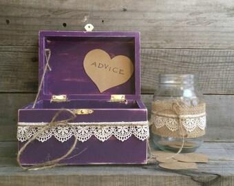 Rustic Wedding Advice Box, Guest Book Alternative, Distressed Wooden Purple Wish Box, Keepsake Box, Wedding Wish Box,