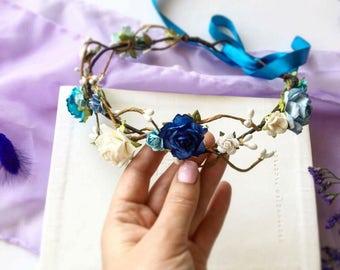 Blue Flower Crown Wedding Floral Crown Navy Blue & White Hair Wreath Flower Girl Crown Bridal Flower Crown Adult Bridesmaid Hairpiece