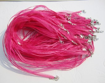 Promotion Sale--50 pieces 17-19 inch hot pink robbon/waxed cotton necklace cords including lobster clasps and extention chains