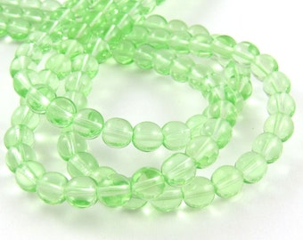 Peridot Green 6mm Smooth Round Czech Glass Beads #1719