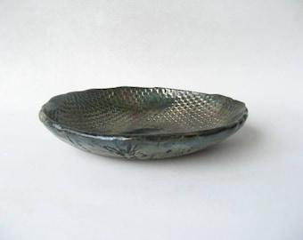 Raku Trinket Dish, Pottery Trinket Dish, Raku Pottery, Small Decorative Bowl