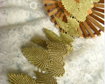 Gold Lace Trim, Baroque Crocheted Lace Trim, Embroidered leaves trim, Jewelry lace