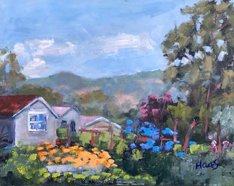 California Plein Air Landscape Oil Painting Original Art San Francisco Bay Area Sonoma Farm Northern California Artist Artwork Wall Art USA