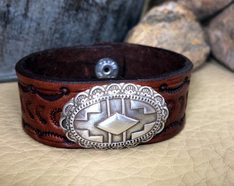 Native American/Southwestern Theme Concho and Hand Stamped Leather Cuff Bracelet