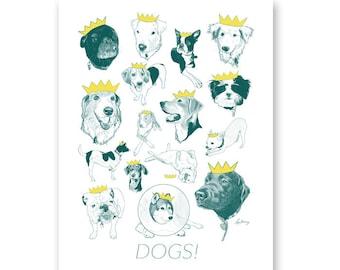 Dogs print - Year of the dog - Dog lover print - Dog gift - Ryan Berkley Illustration -  11x14
