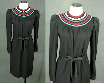 vintage 80s Sweater Dress - Black Avant Garde Dress 1980s Applique Collar Dress Knit Dress Sz S M