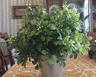 Artificial Boxwood in Metal Pot